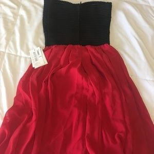 B Darlin Red and Black Strapless Party Dress NWT